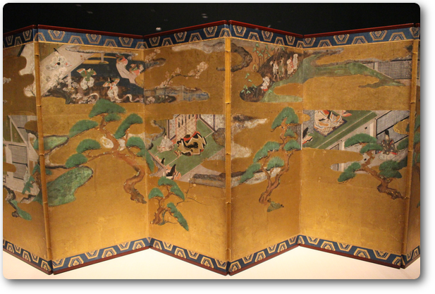 俵屋宗達のNine Screen from the Tale of Genji (源氏物語)